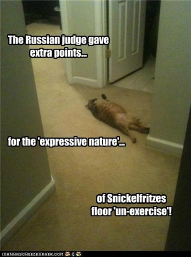 The Russian judge gave extra points... for the 'expressive nature'... of Snickelfritzes floor 'un-exercise'!