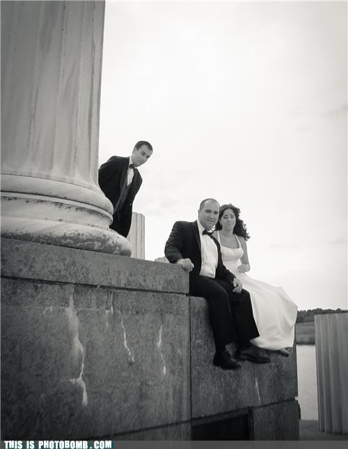 best man black and wihte Good Times photobomb wedding - 5428547072