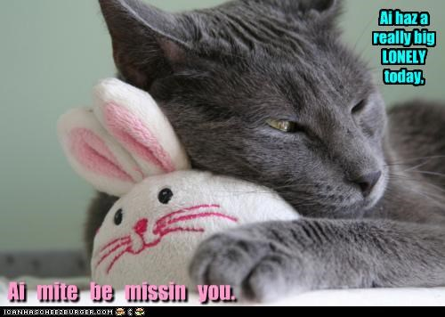 Ai haz a really big LONELY today, Ai mite be missin you.