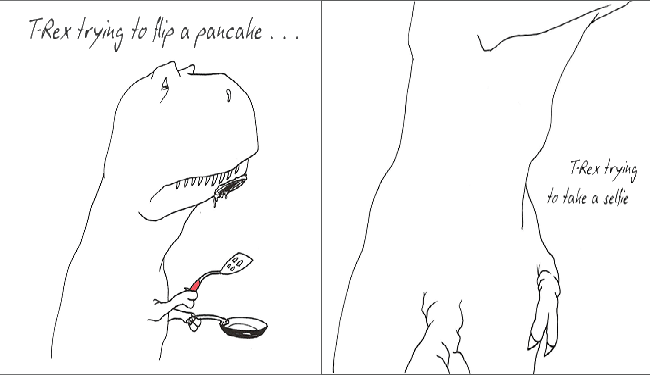 a funny list of the struggles t-rex's face in their daily life