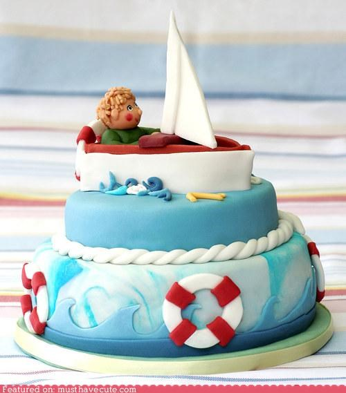 blue epicute fondant kid life preservers ocean rings sailboat water - 5429926400