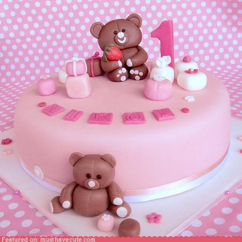 birthday,cake,epicute,fondant,one year old,teddy bears