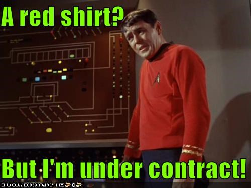 contract,james doohan,red shirt,scotty,Star Trek