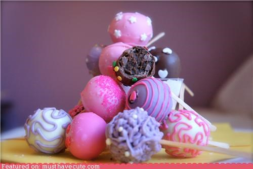 cake,cake pops,chocolate,epicute,pink,purple,stack,sticks