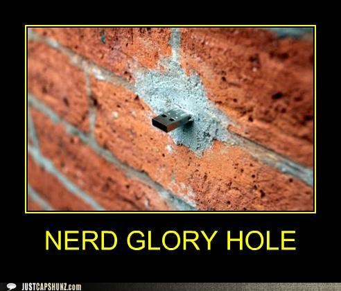 brick wall,glory hole,nerd glory hole,technology,usb drive