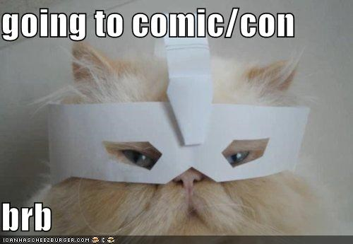 brb caption captioned cat comic con cosplay cosplaying costume dressed up going mask persian