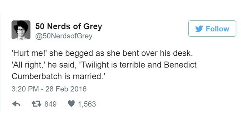 Funny tweets from 50 nerds of grey.