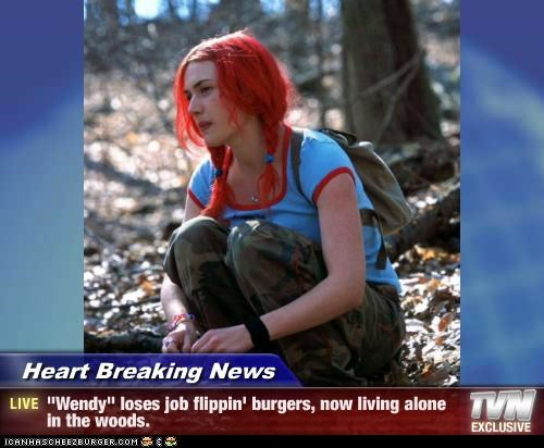 burgers,eternal sunshine of the spotless mind,fast food,kate winslet,red hair,wendys,woods