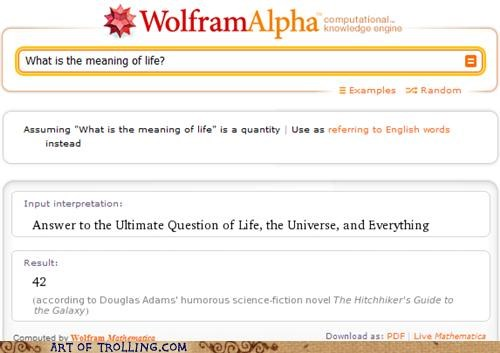 42,hitch-hikers-guide,meaning of life,wolfram alpha