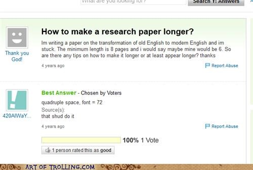 length,research paper,tricks,Yahoo Answer Fails