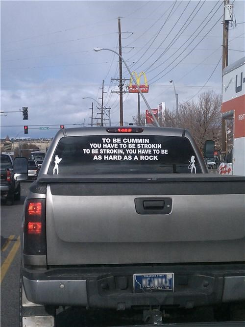cars classy confusing double entendre inappropriate Montana rocks sticker truck - 5435002368