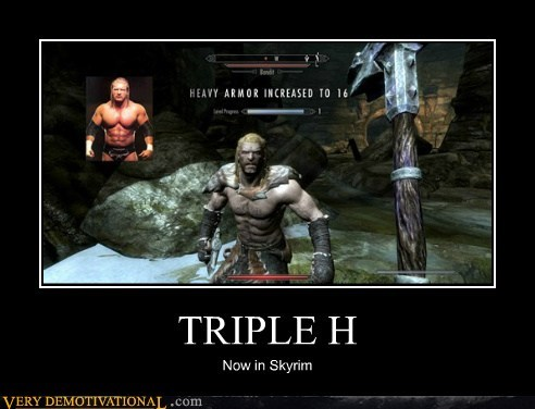 hilarious,Skyrim,triple h,video games,wrestling