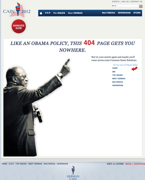 2012 Presidential Race 404 Page herman cain Manly Pizza - 5435440896