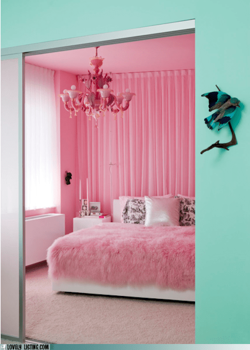 bedroom best of the week bird bright decor green paint pink - 5435504896