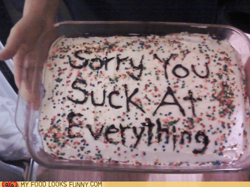 cake,frosting,message,sprinkles,suck,you suck