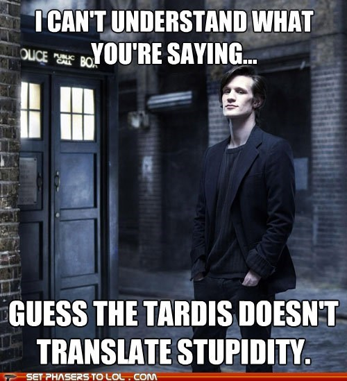 doctor who,Matt Smith,stupidity,tardis,the doctor,translate,understand