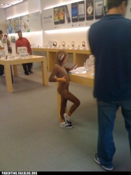 apple store,costume,gadget,iphone,monkey,naughty or nice,Parenting Fail,technology,wait what