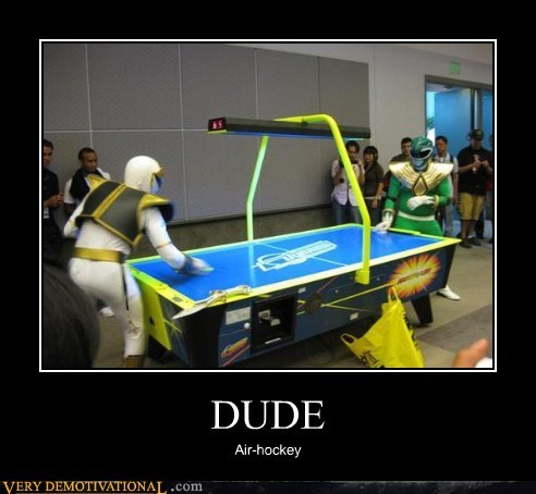 air hockey he is fighting himself hilarious power ranger wtf
