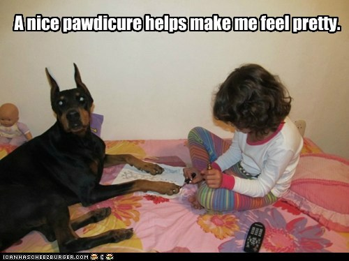 awesome dog,child,doberman,kid,manicure,nail polish,painting nail