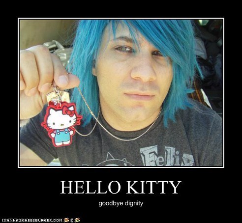 blue hair dignity embarrassed hello kitty weird kid - 5435798528