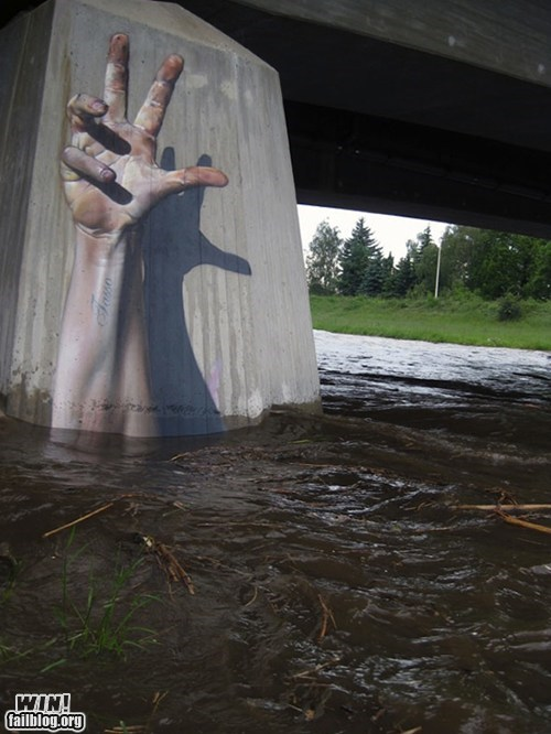 art,bridge,graffiti,hand,rescue,river,save,Street Art