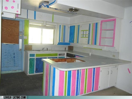 cabinets colorful highlighters kitchen stripes