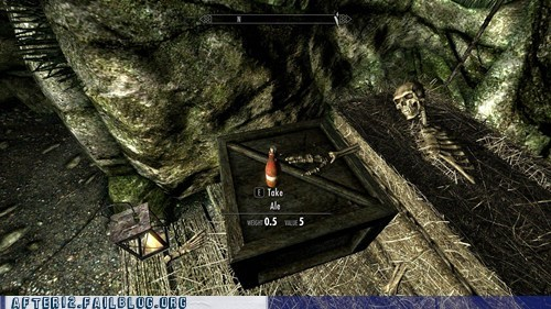 ale drinking dying skeleton Skyrim video games - 5436485888