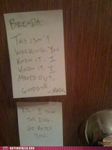breaking up dogs post-it note sticky Ten Ways to Break Up - 5436555520