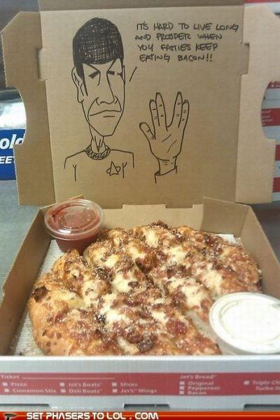 bacon Leonard Nimoy live long and prosper pizza Spock Star Trek - 5436620800
