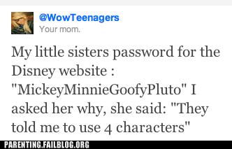 cartoons disney kid logic Parenting Fail password security twitter - 5436715264