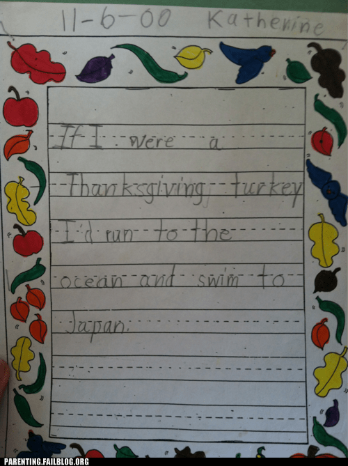 homework,kids are dumb,oh Japan,Parenting Fail,thanksgiving,Turkey,writing