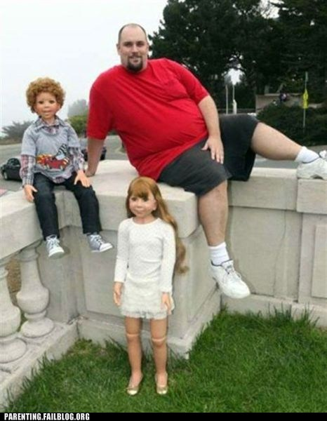 children,creepy,dad,doll,dummy,fat,model,Parenting Fail,scary