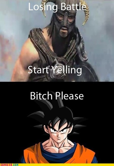 dragonball losing battle over 9000 Skyrim TV yell yelling - 5436775168