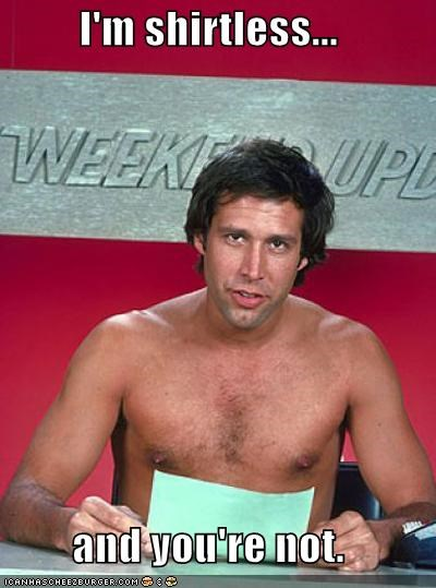 Chevy Chase,comedians,saturday night live,shirtless,SNL,weekend update