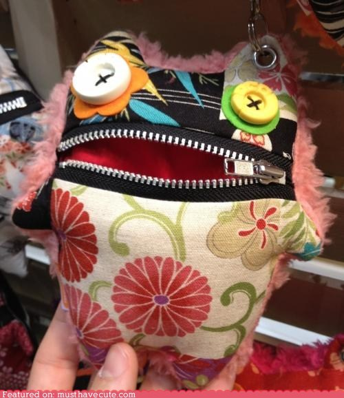 bag buttons critter mouth pouch zipper