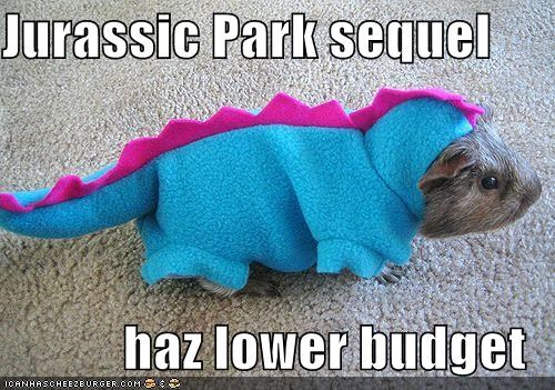 clothes,costume,dinosaurs,film,guinea pigs,jurassic park,movies,rodents