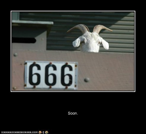 666 caption captioned goat ominous SOON Staring - 5438376704