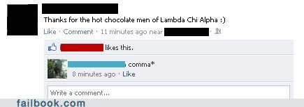 comma frat boys grammar hot chocolate