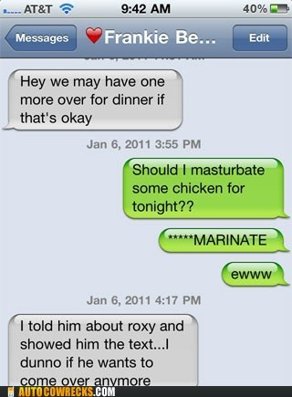 autocorrect chicken cooking marinate masturbate - 5439167488