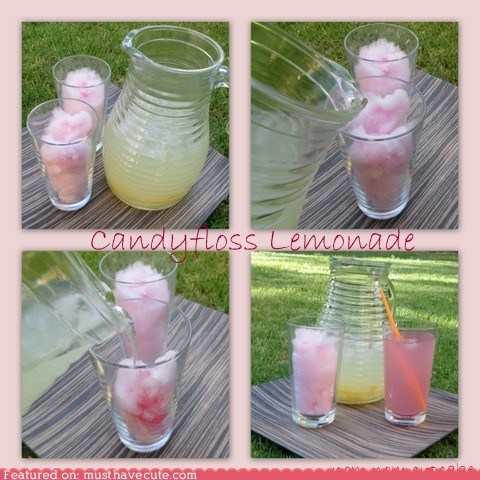 candyfloss,cotton candy,drink,lemonade,pink,summer,sweet