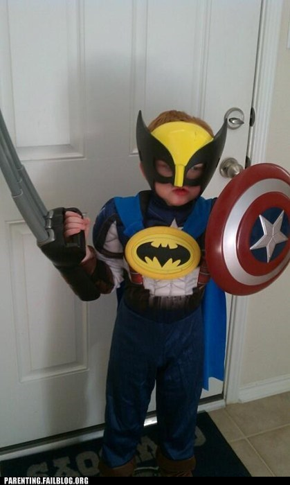 awesome,batman,cape,captain american,costume,superheroes,toddler,wolverine