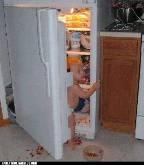 baby caught food fridge kitchen mess Parenting Fail trouble