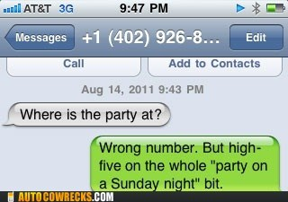 high five parting Party sunday night wrong number