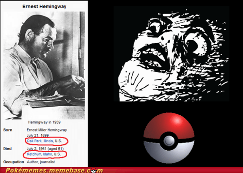 ernest hemingway IRL ketchum Oak Park Pokémon realization writer - 5439921920