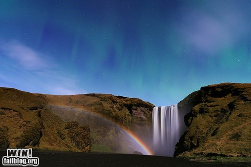 aurora borealis,mother nature ftw,nature,photography,rainbow,waterfall