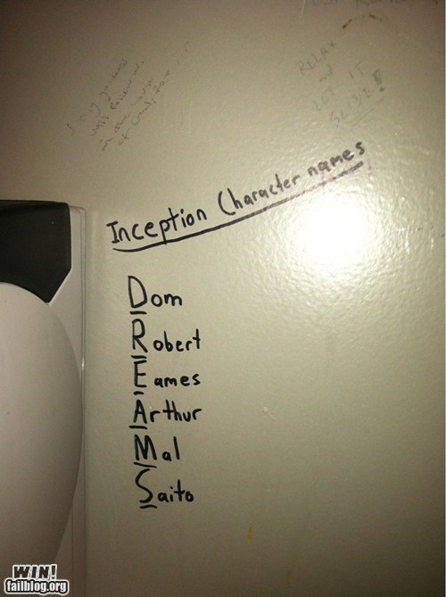 acronym,bathroom,Bathroom Graffiti,dreams,graffiti,Inception,mind blown,Movie,revelation
