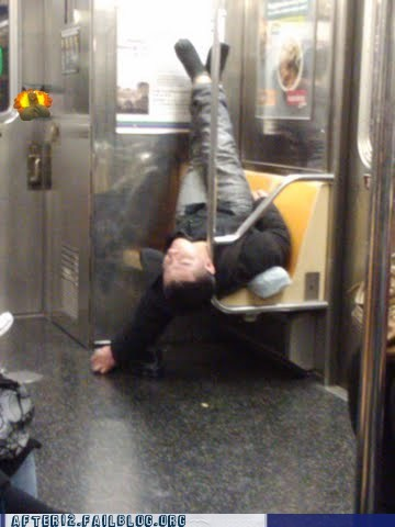comfy,drunk,passed out,public transportation,Subway,train,upside down