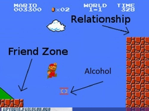 alcohol,drinking,liquid courage,mario,relationships,video games