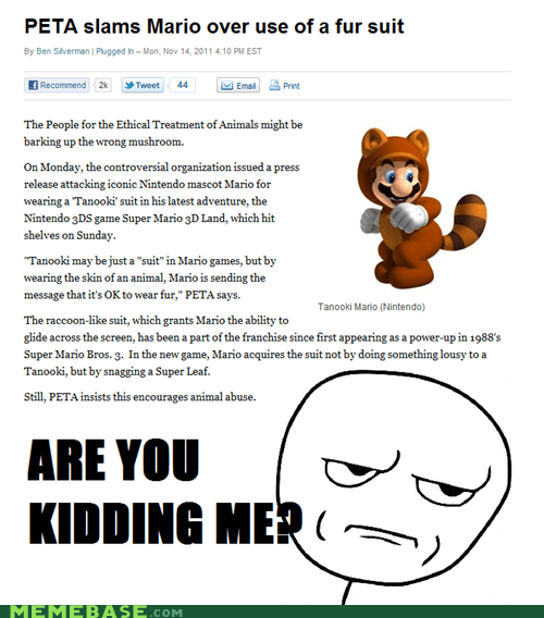 mario,nintendo,peta,Rage Comics,suit,tanooki,video games