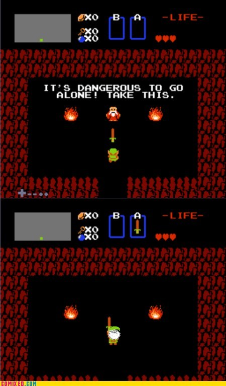 its dangerous to go alone link Sad still alone video games zelda - 5441421312